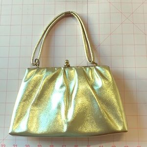 Handbags - Vintage Gold Metallic  clasped frame purse